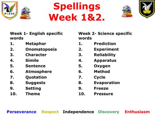 Subject specific cross-curricular spellings