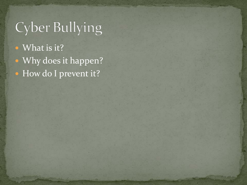 Health - Cyber Safety Lesson 5 - Cyber Bullying Part 1 of 2