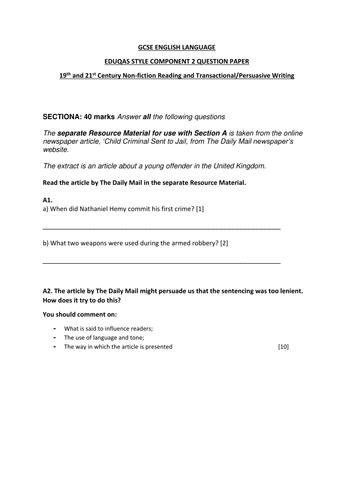 GCSE English Language Eduqas Component 2 19th/21st century non fiction practice paper