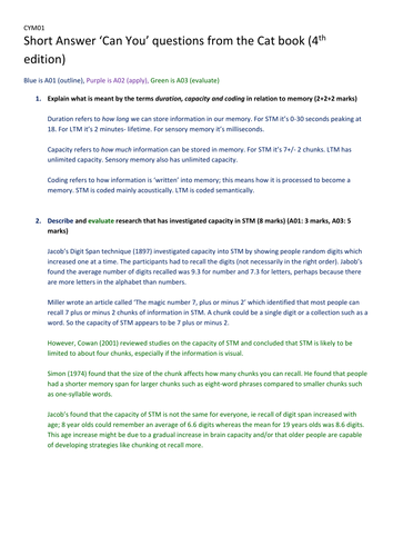 Exam Style questions AND answers including full 16 markers for MEMORY unit of A Level Psychology