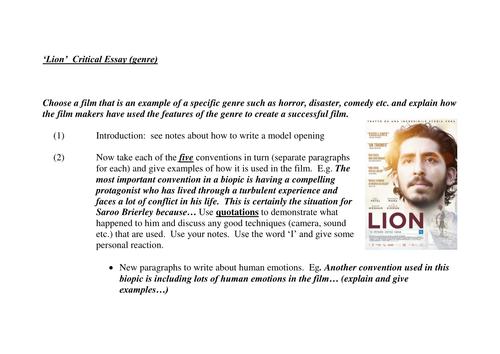 'Lion' Dev Patel film of 'A Long Way Home': essay plan