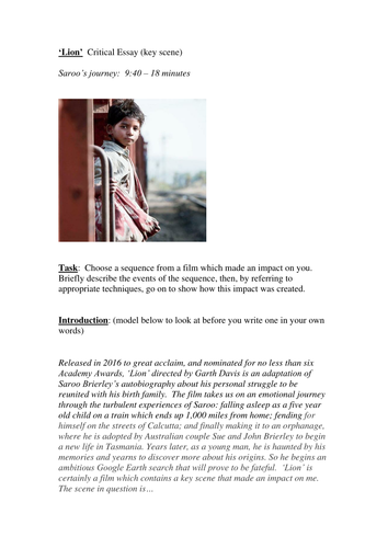 Lion Dev Patel Film Of A Long Way Home Essay Plan By