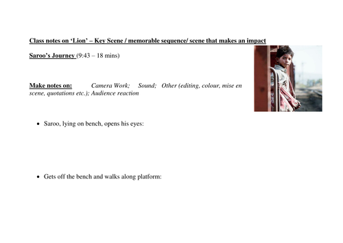 TEACHER'S NOTES Template for analysing a key scene from 'Lion' - 2017 Dev Patel film