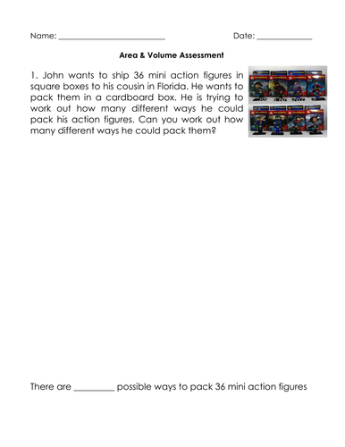 Area & Volume Assessment - Editable (4th & 5th Grade)