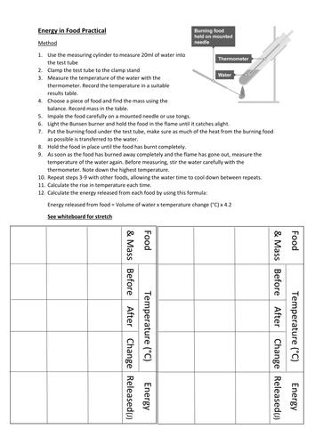 Energy in Food Practical Worksheet