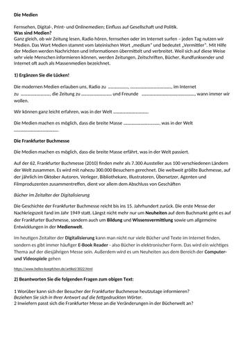 Revised & Enhanced  New A- Level Edexcel/AQA  German topic: Die Medien