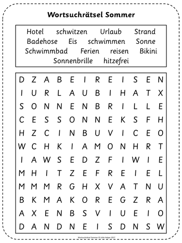 German word search puzzle - Sommer