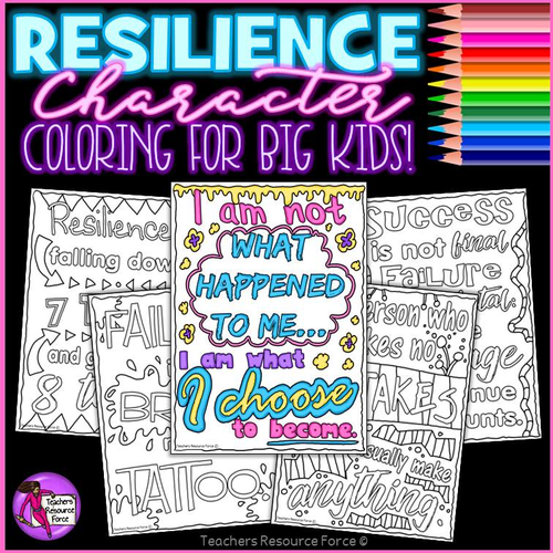 Character Education Resilience Colouring Pages