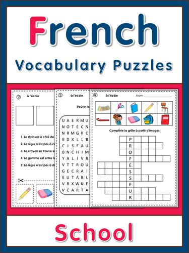 French vocabulary puzzles - à l'école