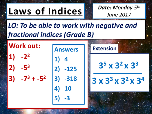 KS4 Fractional & Negative Indices Lesson + Activities