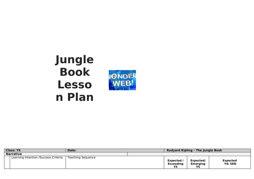 KS2 Jungle Book Lesson Plan (Used for Interview Observation)