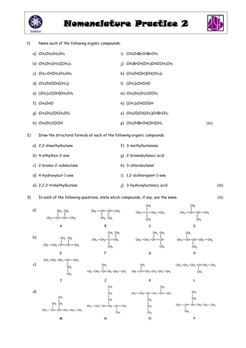 A level Naming organic molecules with video link