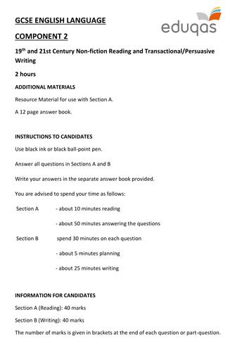 EDUQAS GCSE ENGLISH LANGUAGE COMPONENT 2 PRACTICE EXAMINATION PAPERS (NON-FICTION and TRANSACTIO
