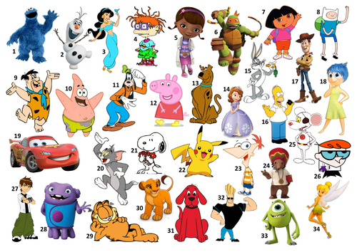 Cartoon Characters A Z : Maths and quizzes s shop teaching resources tes
