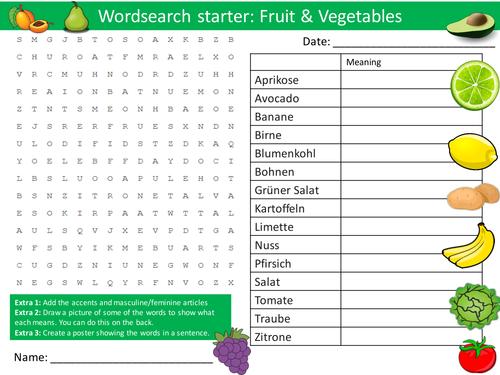 german fruit vegetables wordsearch keywords ks3 gcse starter wordsearch anagrams crossword by. Black Bedroom Furniture Sets. Home Design Ideas