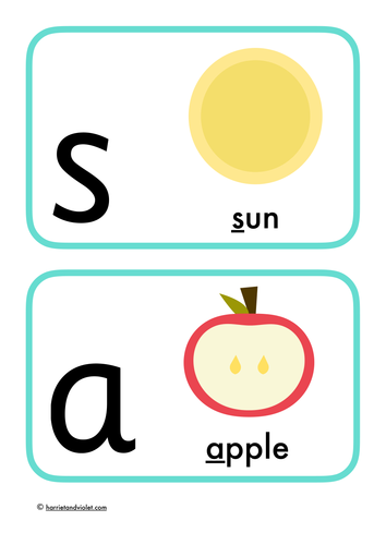 Phonics Flashcards Phase 2 Letters + Sounds (display or game)