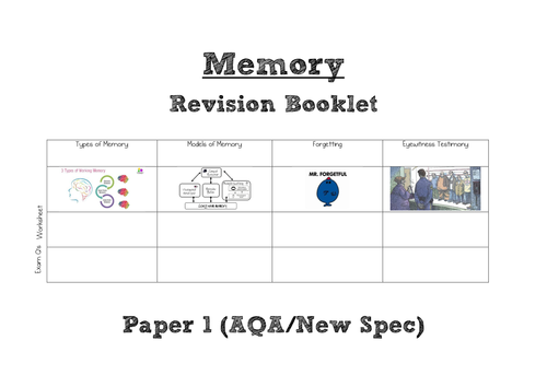 AQA A Level Psychology (New Spec) Memory WHOLE TOPIC Revision Booklet [Paper 1]