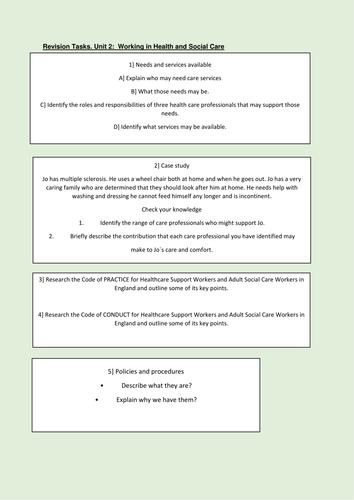 Unit 2 Health & Social care revision tasks