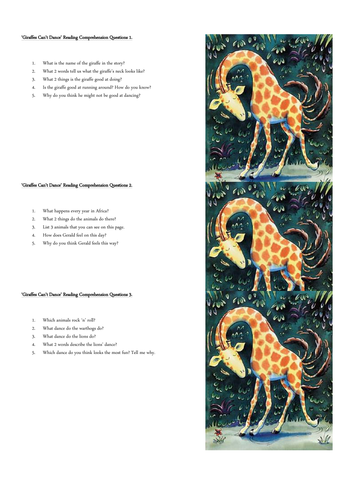 Giraffes Can't Dance by Giles Andreae Reading Comprehension Questions for Full Book
