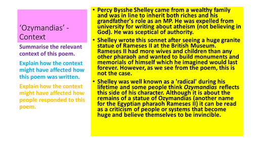 Context revision - AQA Power and Conflict poetry