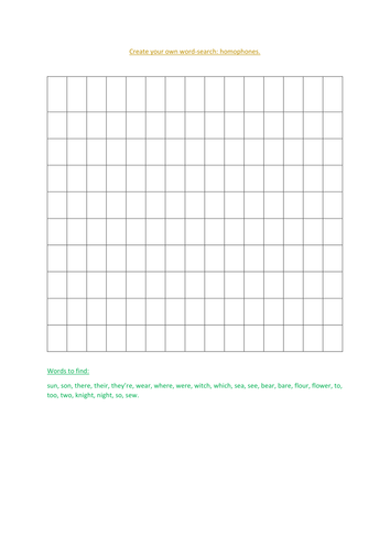 homophone word search.