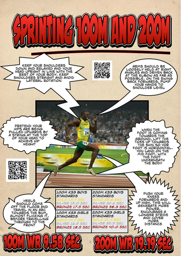 Athletics 100m and 200m analysis sheets