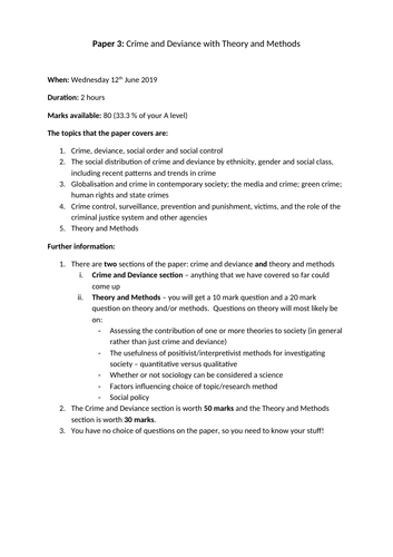 AQA A Level Sociology Crime and Deviance with Theory and Methods checklist
