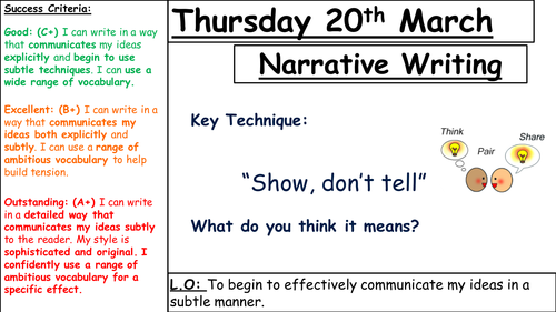 Narrative writing - lesson observation