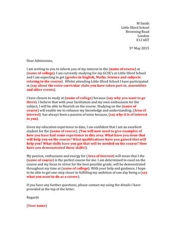 College application letter template