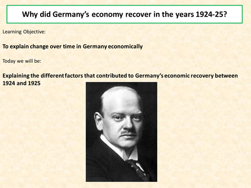 Lesson 1- Key Topic 4: Stability and Recovery, 1924-29 - AQA A Level Unit 1L