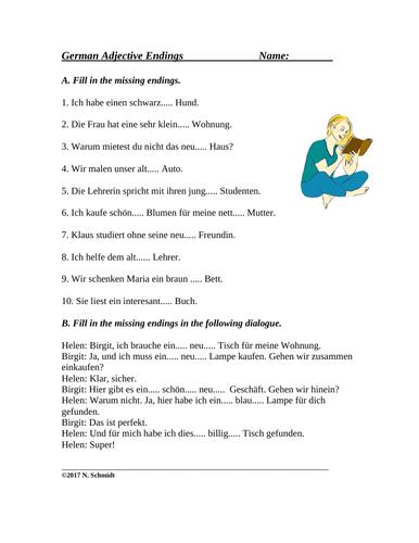 German Adjective Endings - Worksheet and Handout