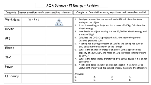AQA Physics P1 Energy: Revision sheet