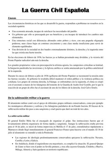 La Guerra Civil - Causas, división de Espana en dos zonas y apoyo internacional