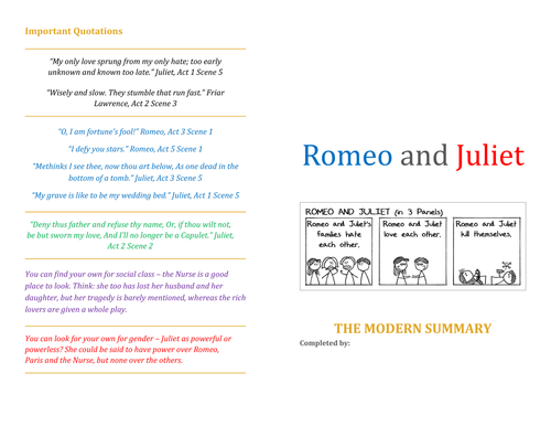 Romeo and Juliet Revision Resources and Activities
