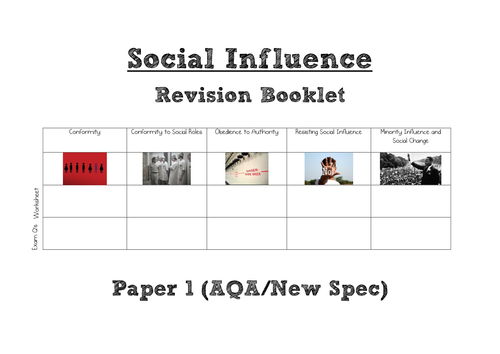 AQA A Level Psychology (New Spec) Social Influence WHOLE TOPIC Revision Book [Paper 1]