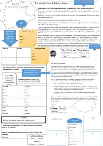AQA Language Paper 2 Massive Revision Learning Mat