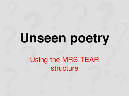 Exploring poetry using MRS TEAR