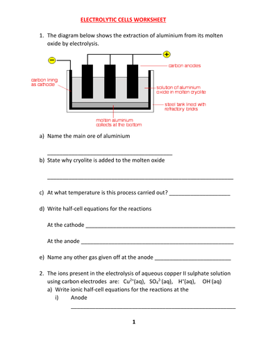 ELECTROLYSIS WORKSHEET 2 WITH ANSWERS by kunletosin246 - Teaching ...