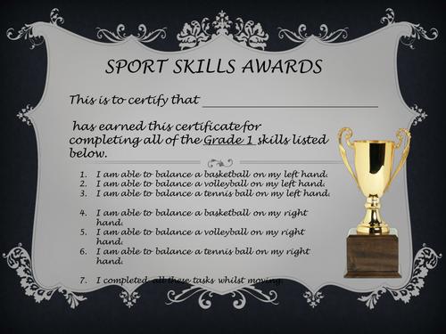 Certificates for Skills awards