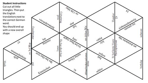 End of term puzzle for Stimmt 1 unit 2 Familie und Tiere