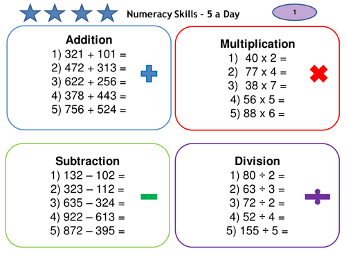 Addition Subtraction Multiplication Division 5-a-day Numeracy KS2 & KS3