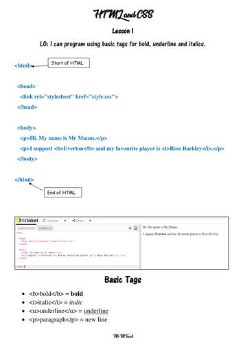 Introduction to HTML - KS2 Computing