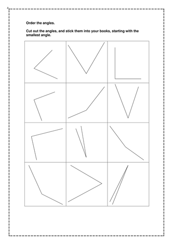 A selection of different sized angle flashcards.