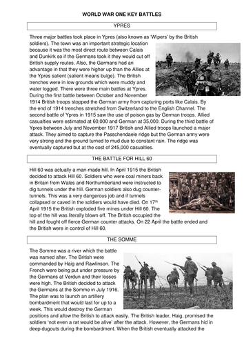 GCSE History The British Sector of the Western Front L2 Key Battles