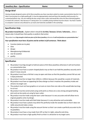 KS3 Jewellery Box Specification (Worksheet and Complete Example)
