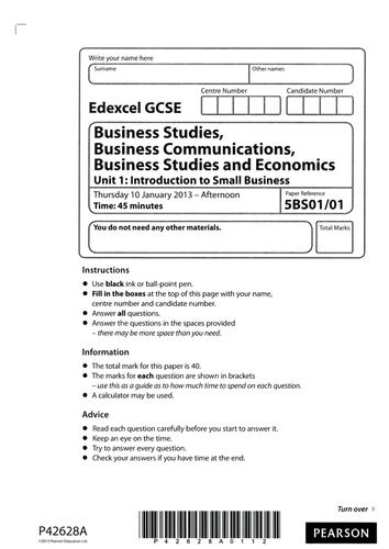 Edexcel GCSE Business Studies Unit 1: Introduction to Small Business Beat the Teacher Jan 2013