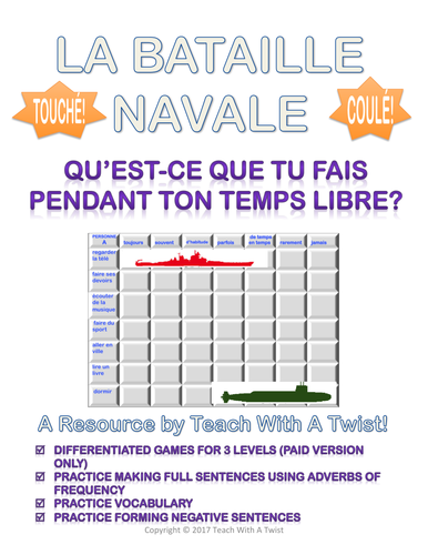 French Battleship Adverbs of Frequency - Adverbes de fréquence - Bataille navale