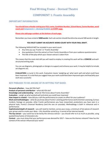 KS5 Drama: Edexcel A Level: Component 1: Devised Portfolio Writing Frame