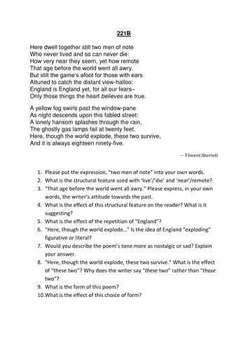ks4 gcse eng lit unseen poetry crr comprehension 221b sonnet by vincent starrett by. Black Bedroom Furniture Sets. Home Design Ideas