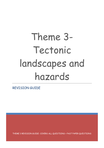 WJEC Spec A Theme 3 Tectonic landscapes and hazards revision guide (For the 2016 spec)